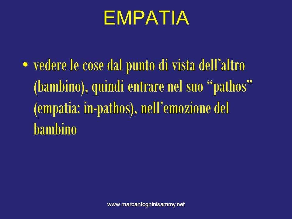 EMPATIAvedere le cose dal punto di vista dell'altro (bambino), quindi entrare nel suo pathos (empatia: in-pathos), nell'emozione del bambino.