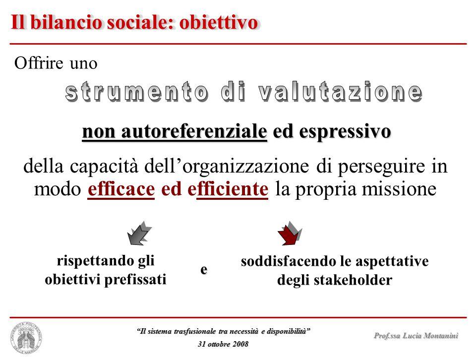 Il bilancio sociale: obiettivo