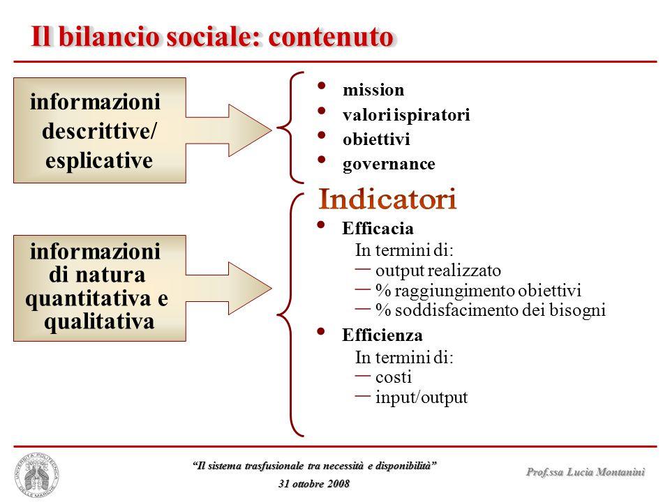 Il bilancio sociale: contenuto