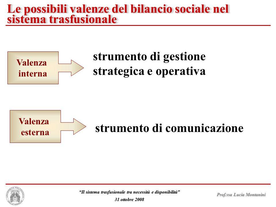 Le possibili valenze del bilancio sociale nel sistema trasfusionale
