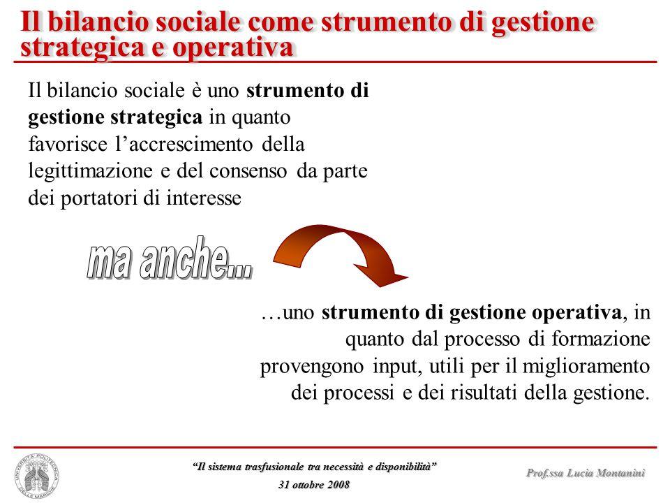 Il bilancio sociale come strumento di gestione strategica e operativa
