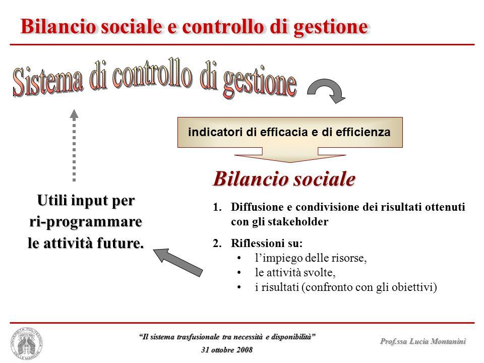 Bilancio sociale e controllo di gestione