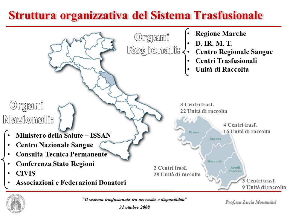 Struttura organizzativa del Sistema Trasfusionale