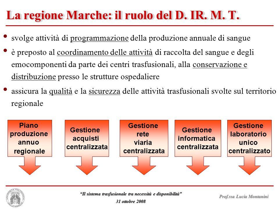 La regione Marche: il ruolo del D. IR. M. T.