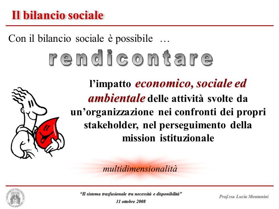 rendicontare Il bilancio sociale Con il bilancio sociale è possibile …