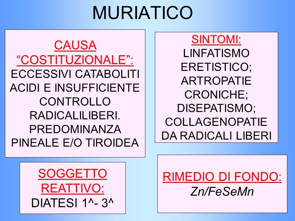 MURIATICO CAUSA COSTITUZIONALE : ECCESSIVI CATABOLITI ACIDI E INSUFFICIENTE CONTROLLO RADICALILIBERI. PREDOMINANZA PINEALE E/O TIROIDEA.