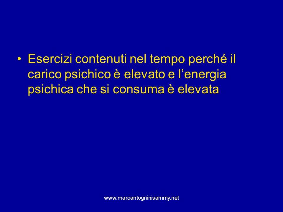 Esercizi contenuti nel tempo perché il carico psichico è elevato e l'energia psichica che si consuma è elevata