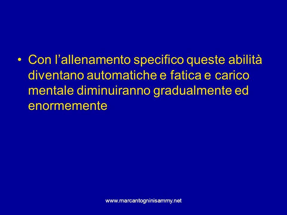 Con l'allenamento specifico queste abilità diventano automatiche e fatica e carico mentale diminuiranno gradualmente ed enormemente