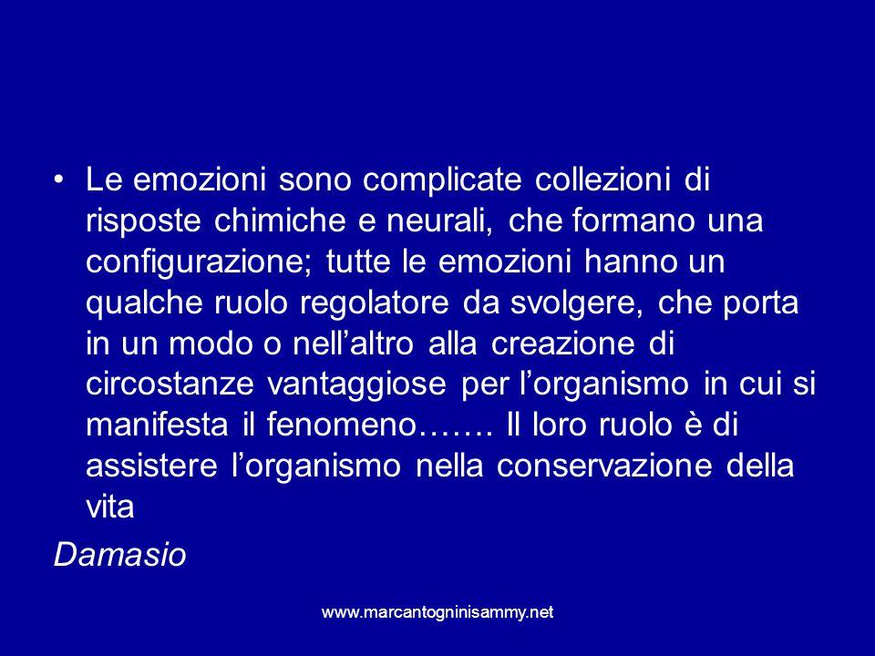 Le emozioni sono complicate collezioni di risposte chimiche e neurali, che formano una configurazione; tutte le emozioni hanno un qualche ruolo regolatore da svolgere, che porta in un modo o nell'altro alla creazione di circostanze vantaggiose per l'organismo in cui si manifesta il fenomeno……. Il loro ruolo è di assistere l'organismo nella conservazione della vita