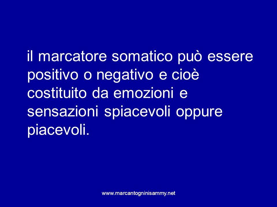 il marcatore somatico può essere positivo o negativo e cioè costituito da emozioni e sensazioni spiacevoli oppure piacevoli.