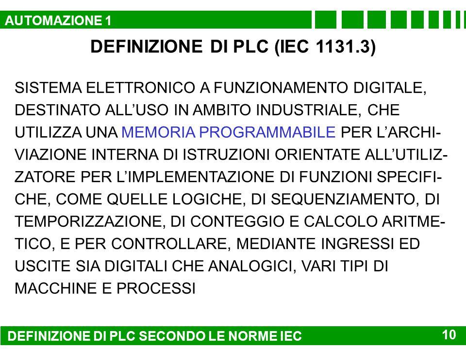 DEFINIZIONE DI PLC (IEC 1131.3)