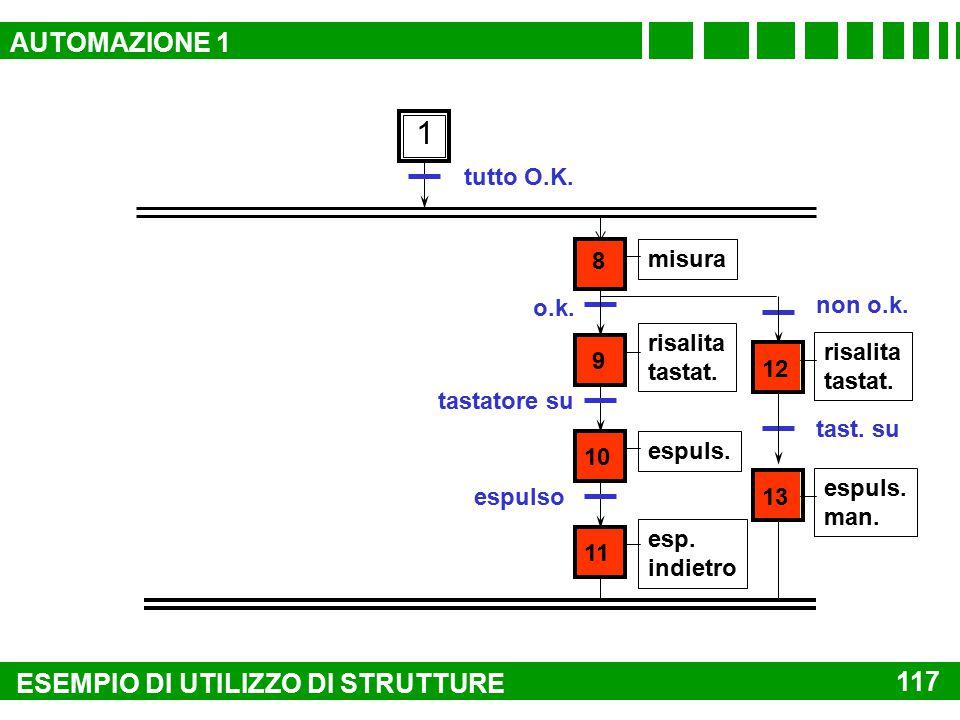 1 AUTOMAZIONE 1 ESEMPIO DI UTILIZZO DI STRUTTURE 117 tutto O.K. 8