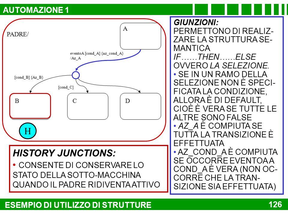 AUTOMAZIONE 1 PADRE/ H. GIUNZIONI: PERMETTONO DI REALIZ-ZARE LA STRUTTURA SE-MANTICA IF……THEN……ELSE OVVERO LA SELEZIONE.
