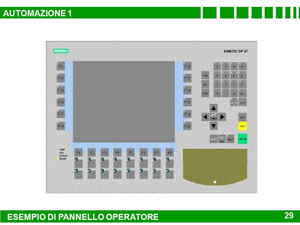 AUTOMAZIONE 1 ESEMPIO DI PANNELLO OPERATORE 29