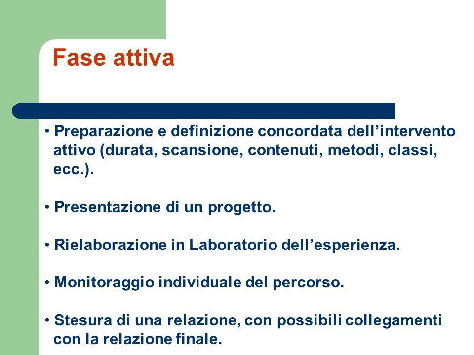 Fase attiva Preparazione e definizione concordata dell'intervento