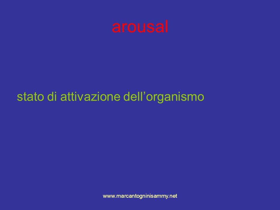 arousal stato di attivazione dell'organismo www.marcantogninisammy.net