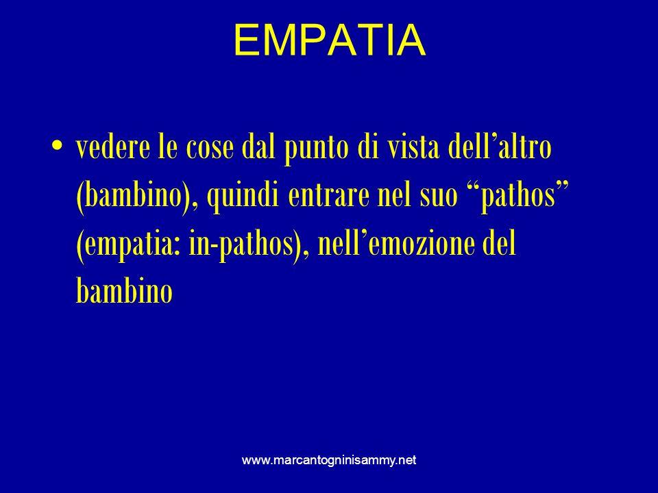 EMPATIA vedere le cose dal punto di vista dell'altro (bambino), quindi entrare nel suo pathos (empatia: in-pathos), nell'emozione del bambino.