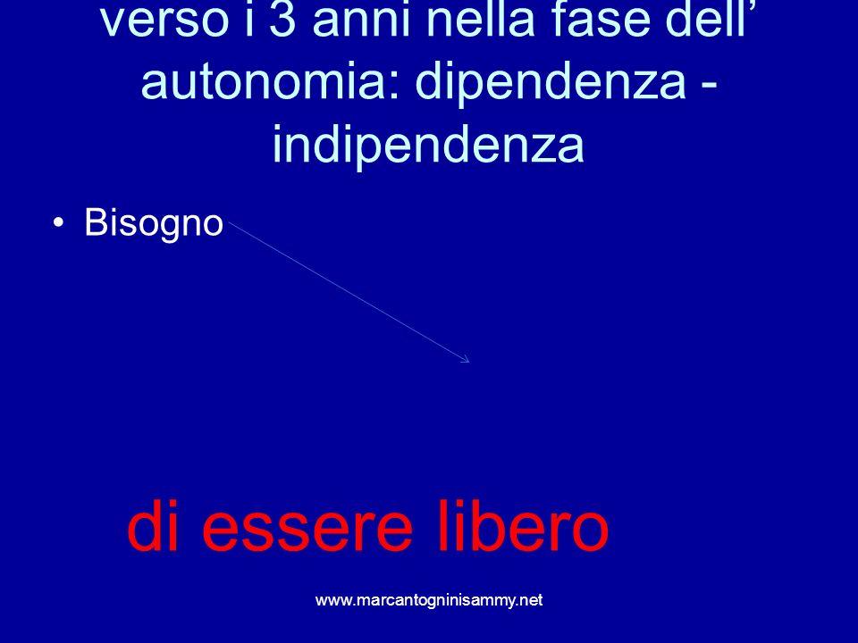 verso i 3 anni nella fase dell' autonomia: dipendenza - indipendenza