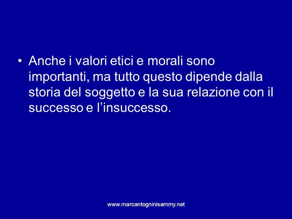 Anche i valori etici e morali sono importanti, ma tutto questo dipende dalla storia del soggetto e la sua relazione con il successo e l'insuccesso.