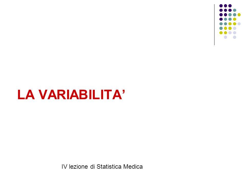 LA VARIABILITA' IV lezione di Statistica Medica