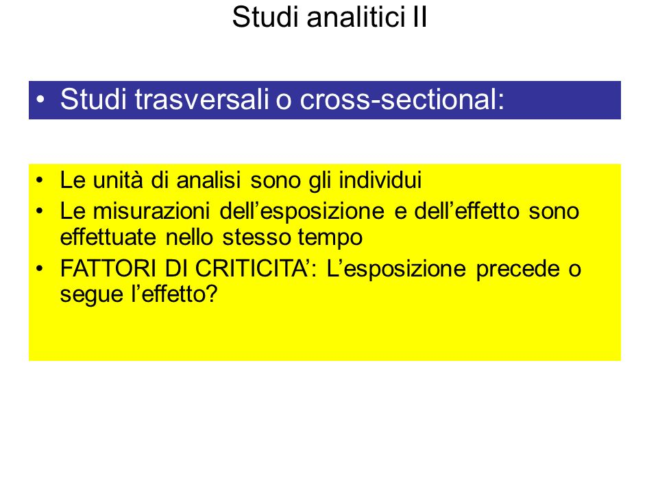 Studi trasversali o cross-sectional:
