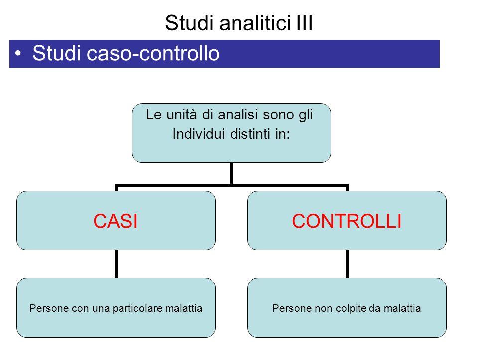 Studi analitici III Studi caso-controllo