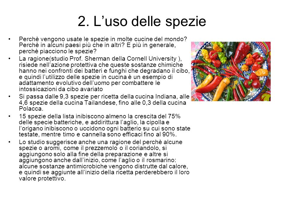 2. L'uso delle spezie