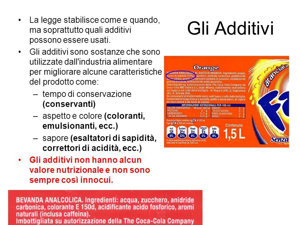 Gli AdditiviLa legge stabilisce come e quando, ma soprattutto quali additivi possono essere usati.