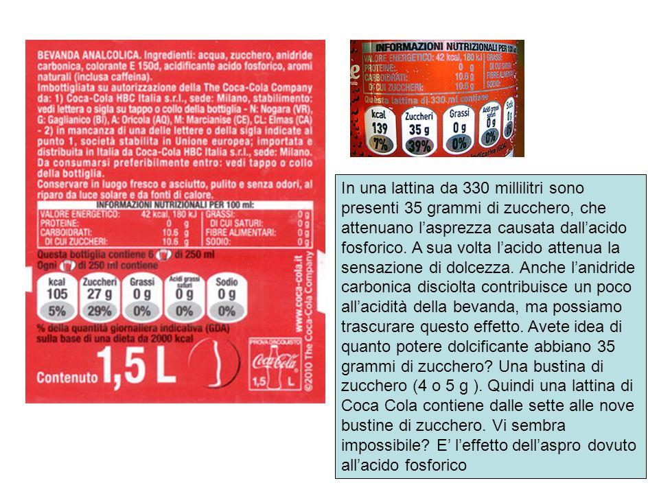 In una lattina da 330 millilitri sono presenti 35 grammi di zucchero, che attenuano l'asprezza causata dall'acido fosforico.