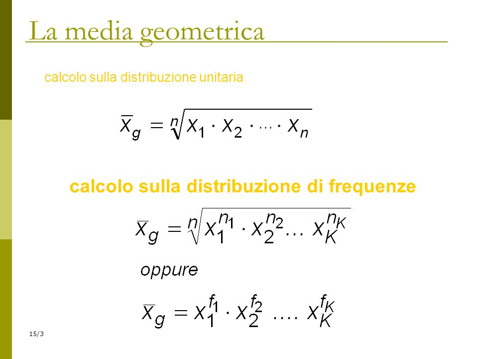 calcolo sulla distribuzione di frequenze