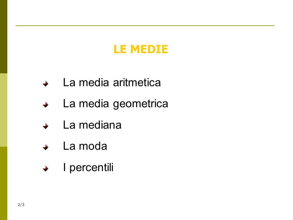 LE MEDIE La media aritmetica La media geometrica La mediana La moda I percentili