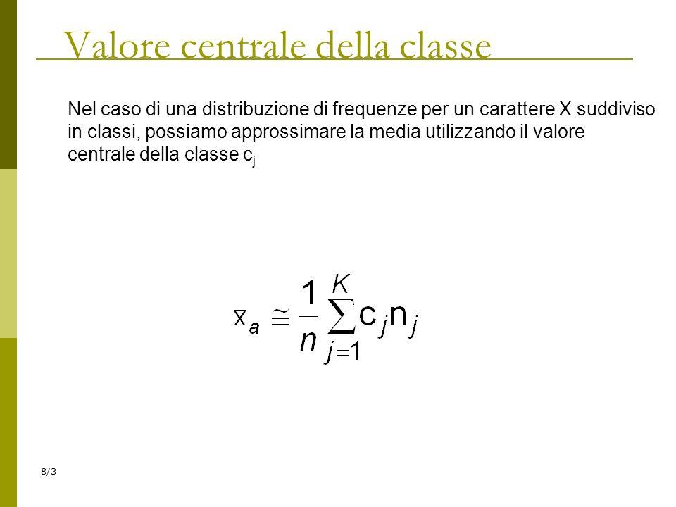 Valore centrale della classe