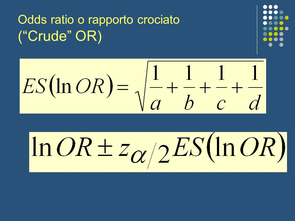 Odds ratio o rapporto crociato ( Crude OR)