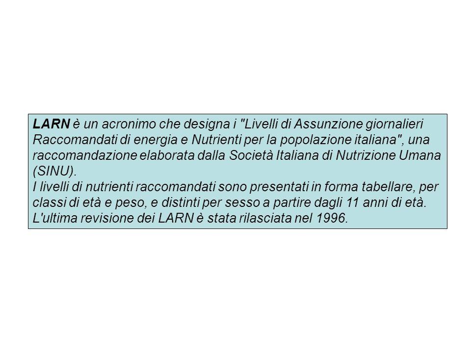 LARN è un acronimo che designa i Livelli di Assunzione giornalieri Raccomandati di energia e Nutrienti per la popolazione italiana , una raccomandazione elaborata dalla Società Italiana di Nutrizione Umana (SINU).