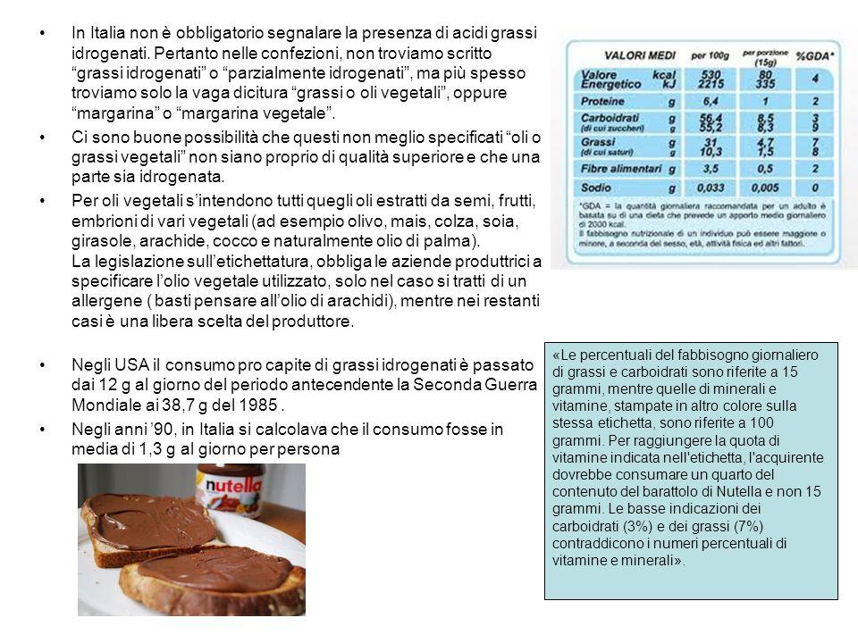 In Italia non è obbligatorio segnalare la presenza di acidi grassi idrogenati. Pertanto nelle confezioni, non troviamo scritto grassi idrogenati o parzialmente idrogenati , ma più spesso troviamo solo la vaga dicitura grassi o oli vegetali , oppure margarina o margarina vegetale .