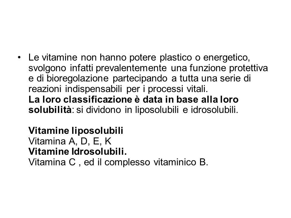 Le vitamine non hanno potere plastico o energetico, svolgono infatti prevalentemente una funzione protettiva e di bioregolazione partecipando a tutta una serie di reazioni indispensabili per i processi vitali.