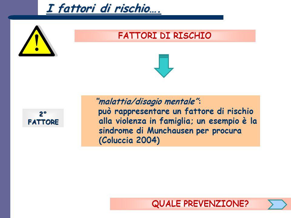 I fattori di rischio…. FATTORI DI RISCHIO malattia/disagio mentale :
