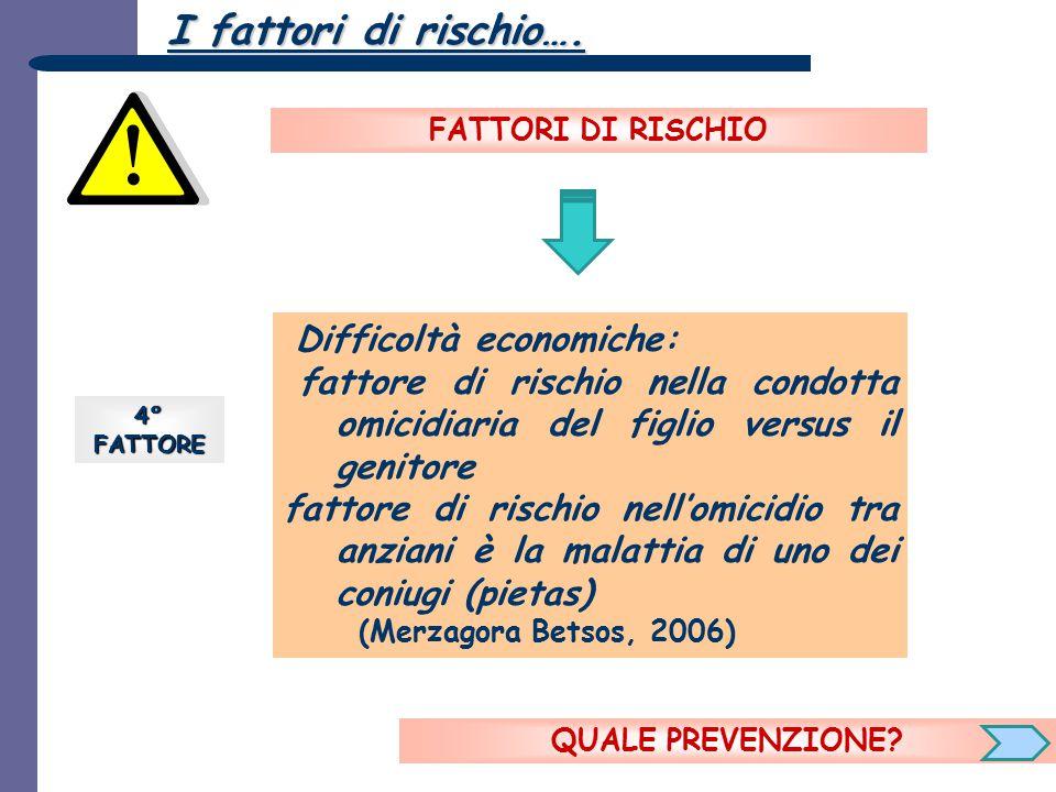 I fattori di rischio…. FATTORI DI RISCHIO. Difficoltà economiche: fattore di rischio nella condotta omicidiaria del figlio versus il genitore.