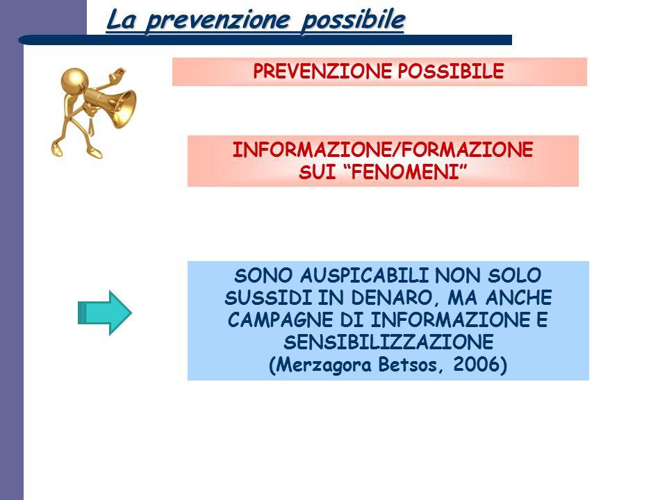 PREVENZIONE POSSIBILE INFORMAZIONE/FORMAZIONE