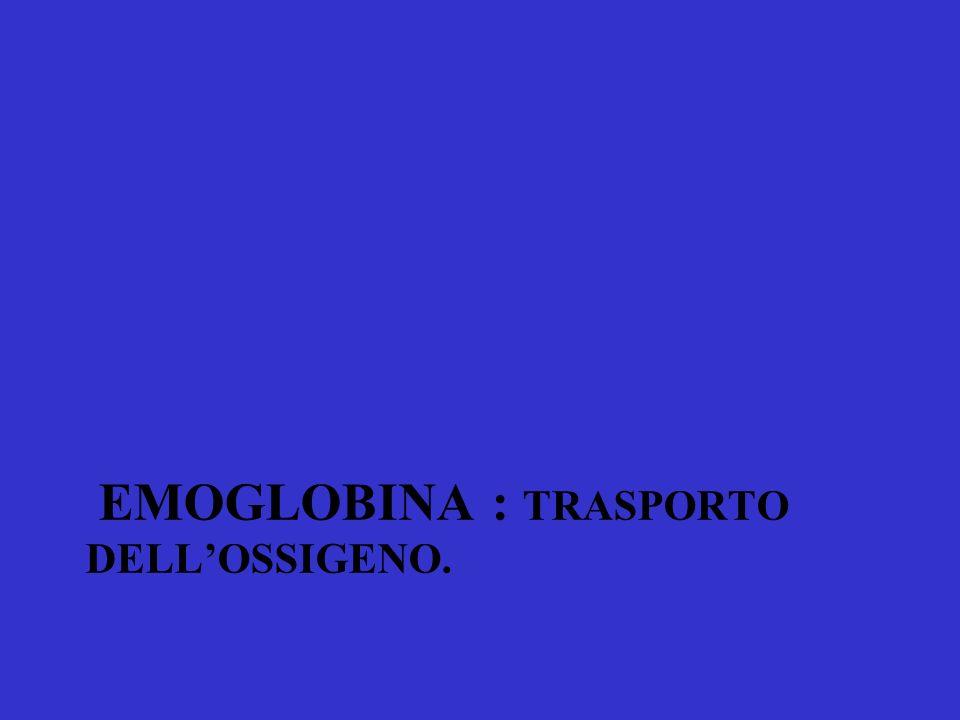 emoglobina : trasporto dell'Ossigeno.