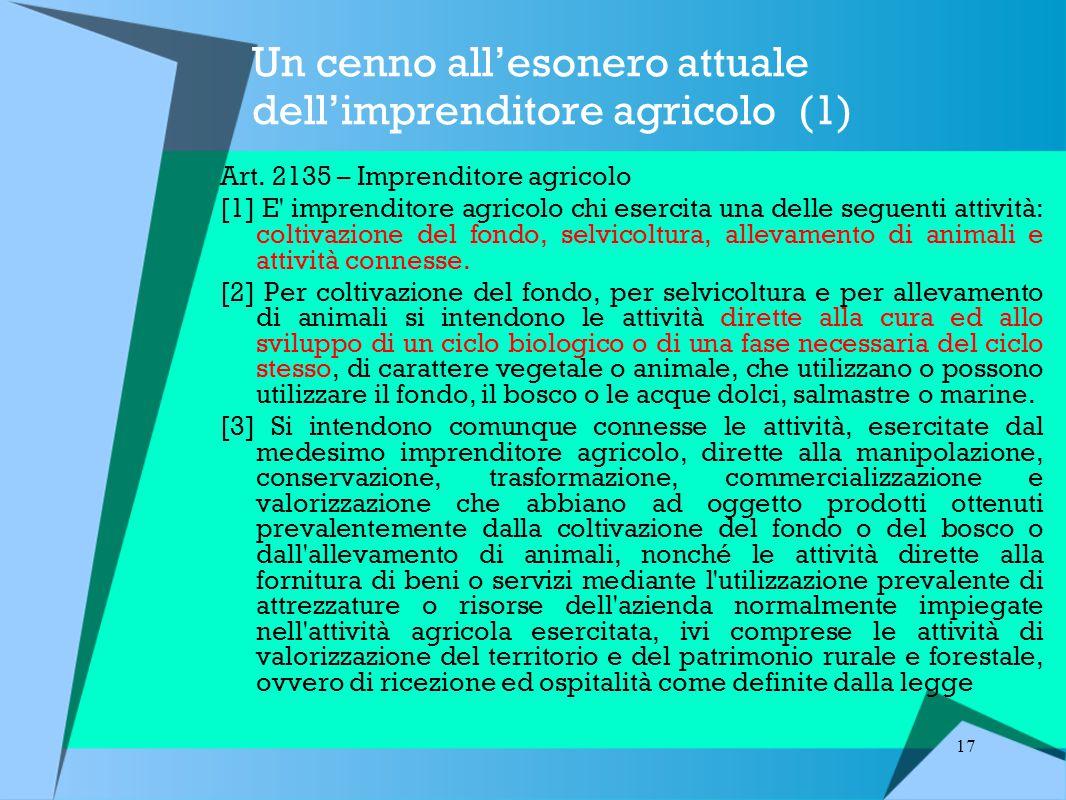 Un cenno all'esonero attuale dell'imprenditore agricolo (1)