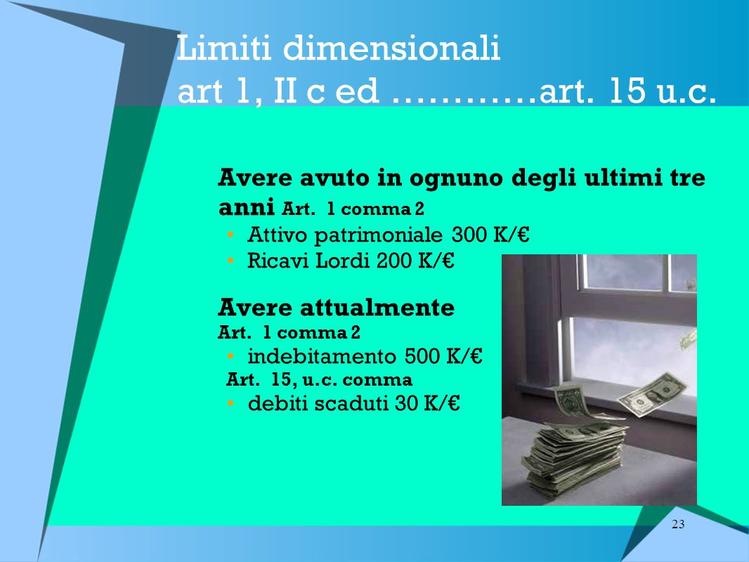 Limiti dimensionali art 1, II c ed …………art. 15 u.c.