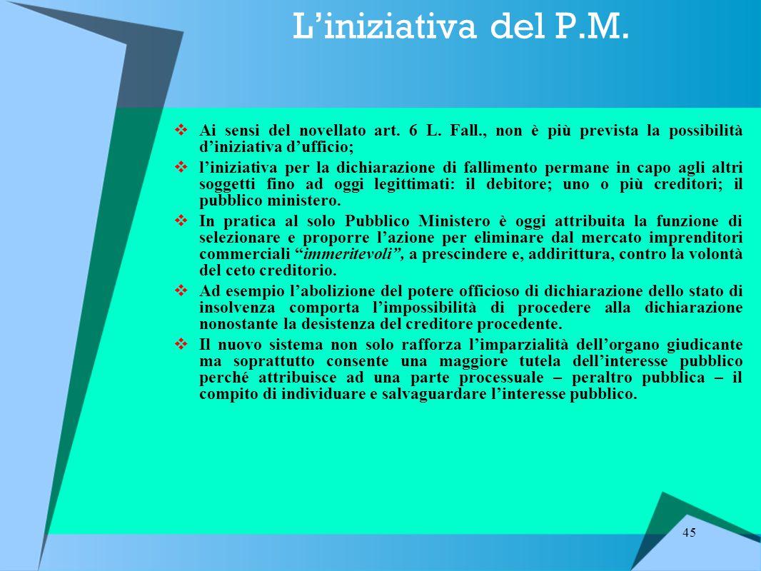 L'iniziativa del P.M. Ai sensi del novellato art. 6 L. Fall., non è più prevista la possibilità d'iniziativa d'ufficio;
