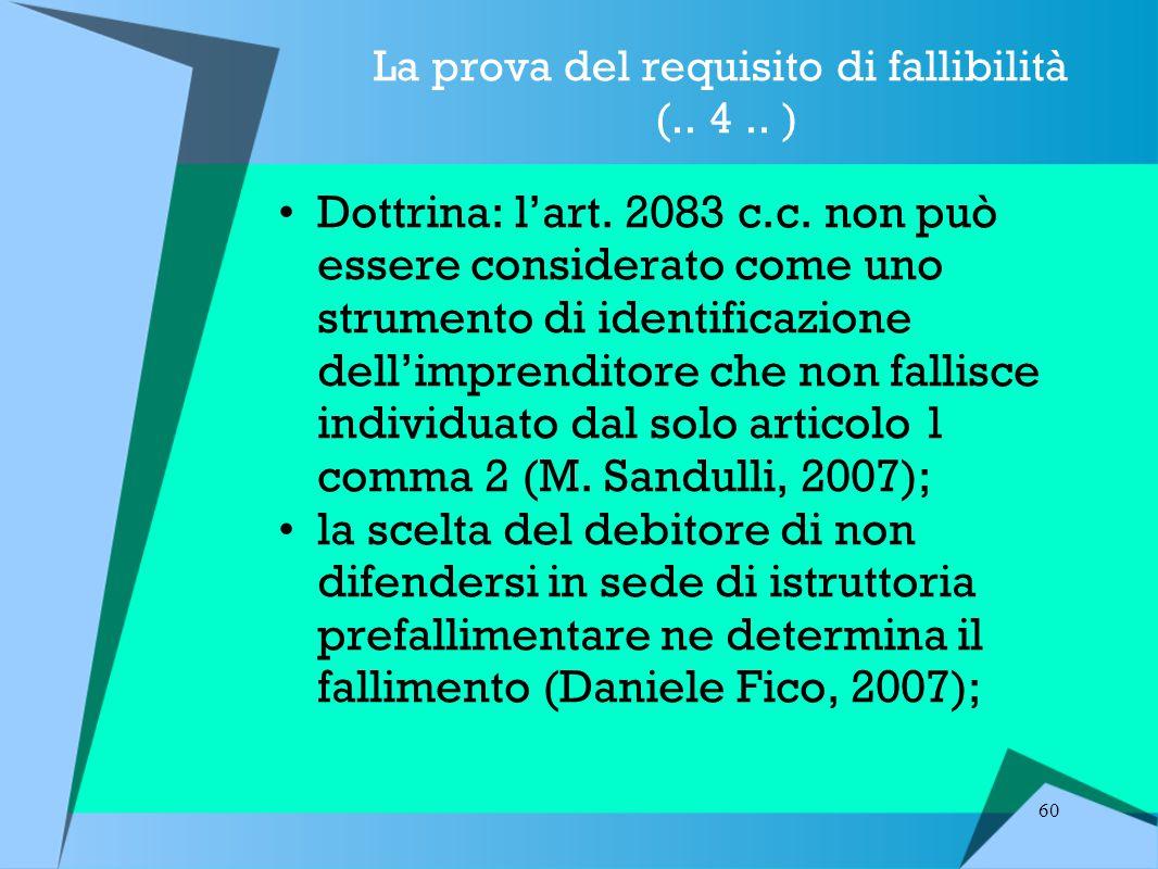 La prova del requisito di fallibilità (.. 4 .. )