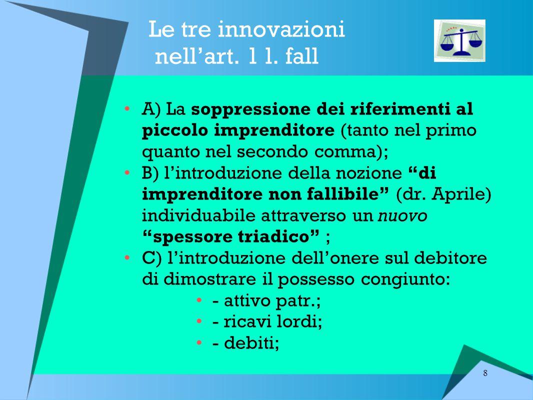 Le tre innovazioni nell'art. 1 l. fall