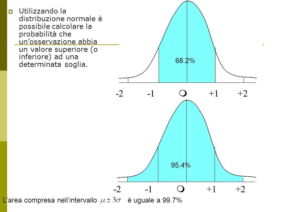 Utilizzando la distribuzione normale è possibile calcolare la probabilità che un'osservazione abbia un valore superiore (o inferiore) ad una determinata soglia.