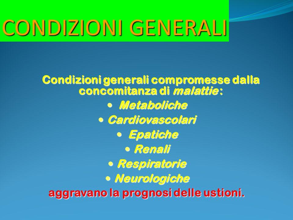 CONDIZIONI GENERALI Condizioni generali compromesse dalla concomitanza di malattie : Metaboliche.