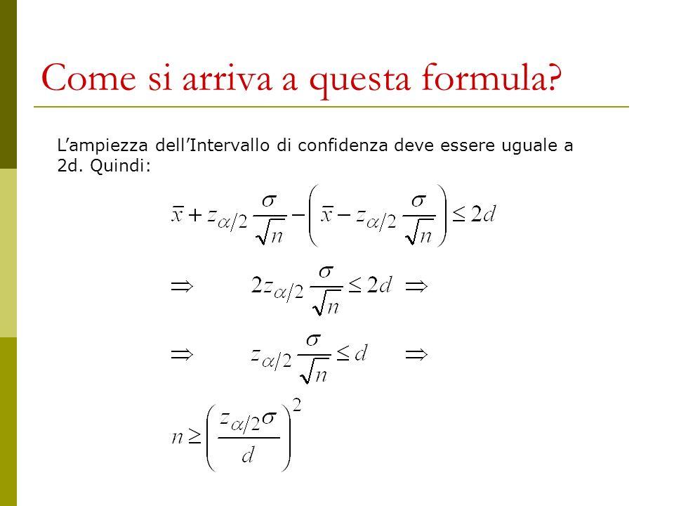 Come si arriva a questa formula
