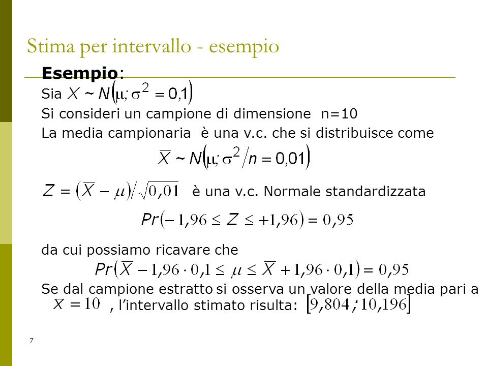 Stima per intervallo - esempio