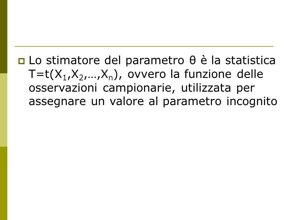 Lo stimatore del parametro θ è la statistica T=t(X1,X2,…,Xn), ovvero la funzione delle osservazioni campionarie, utilizzata per assegnare un valore al parametro incognito